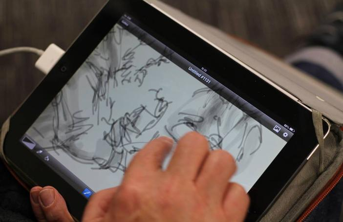 Mik Godley - iPad artist at work at First Art Mansfield launch