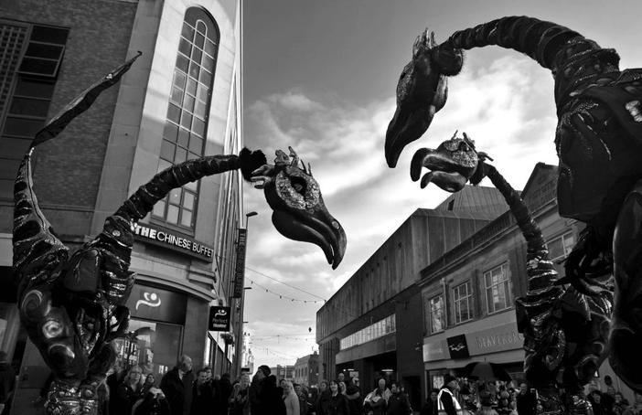 The Sauruses invade Blackpool's streets for Showzam! 2015