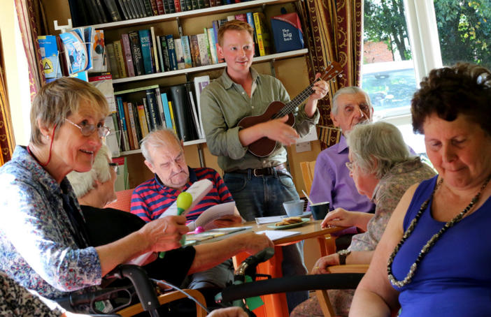bait. Tom Cronin from Sage Gateshead at Royal Voluntary Service singing and ukelele session. Photo: Jason Thompson