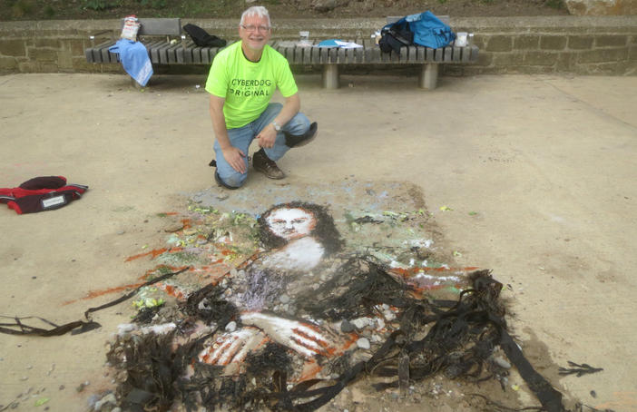 Ian Potts and Eon Arts were supported by Your Art to create a echo-friendly art piece of the Mona Lisa on Roker beach. Photo: Ian Potts