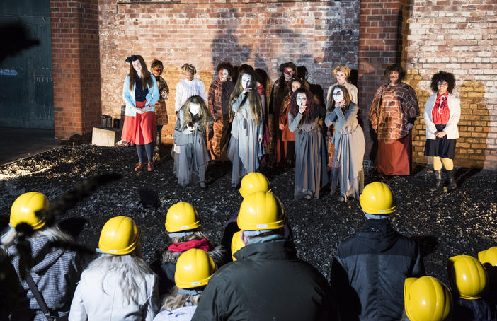 Haunted Furnace in The World of Glass museum featuring local girls aged 13-18. Photo Stephen King